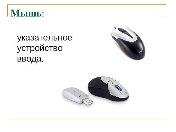 Мышь: указательное устройство ввода.