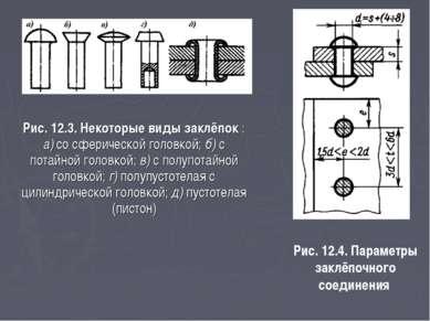 Рис. 12.3. Некоторые виды заклёпок : а) со сферической головкой; б) с потайно...