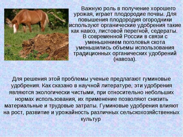 Важную роль в получение хорошего урожая, играет плодородие почвы. Для повышен...