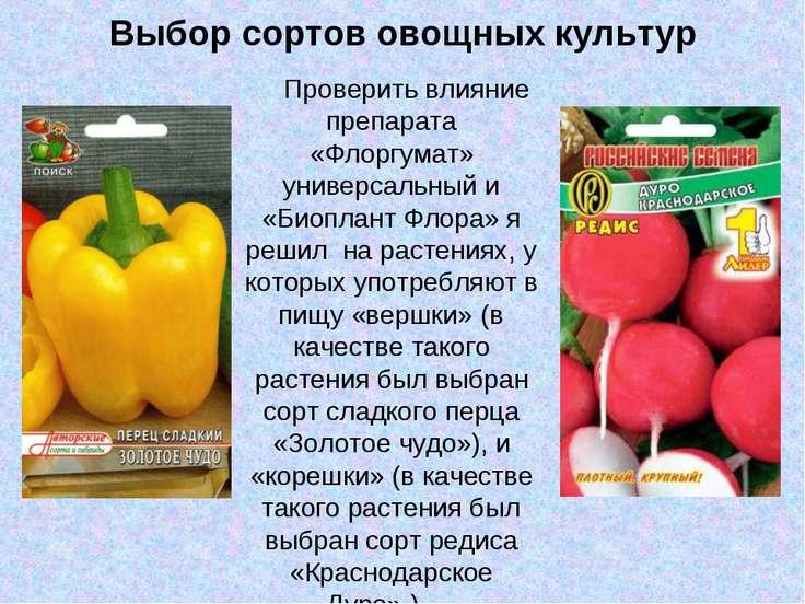 Выбор сортов овощных культур Проверить влияние препарата «Флоргумат» универса...