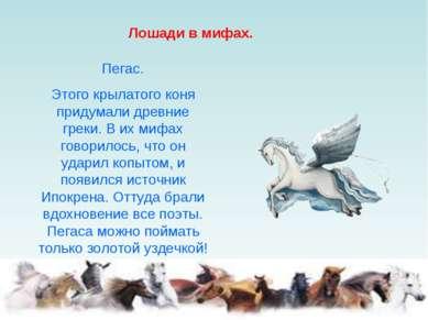 Лошади в мифах. Пегас. Этого крылатого коня придумали древние греки. В их миф...
