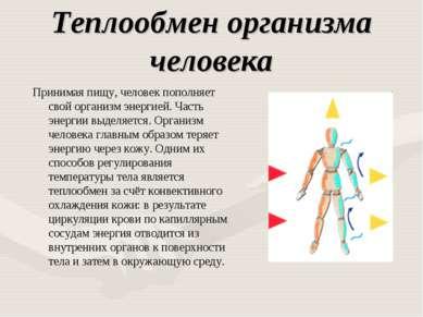 Теплообмен организма человека Принимая пищу, человек пополняет свой организм ...