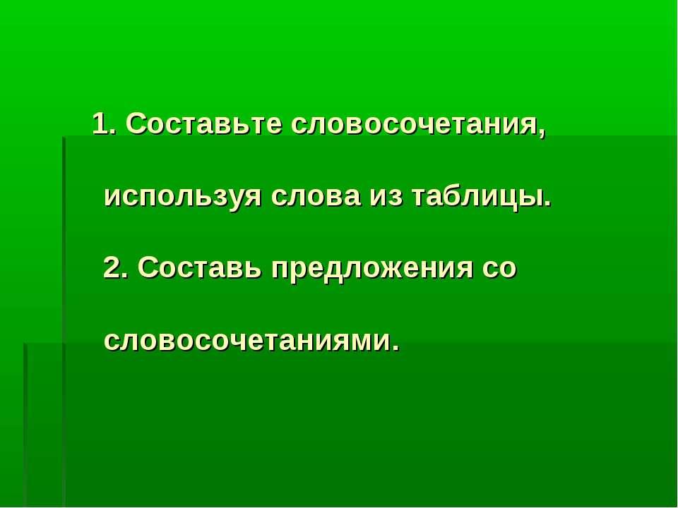 1. Составьте словосочетания, используя слова из таблицы. 2. Составь предложен...