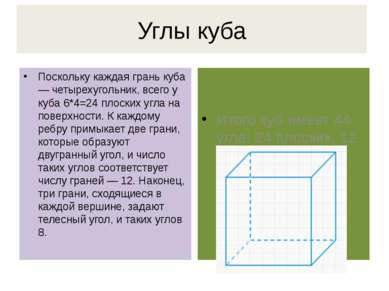 Углы куба Поскольку каждая грань куба — четырехугольник, всего у куба 6*4=24 ...