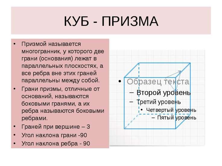 КУБ - ПРИЗМА Призмой называется многогранник, у которого две грани (основания...
