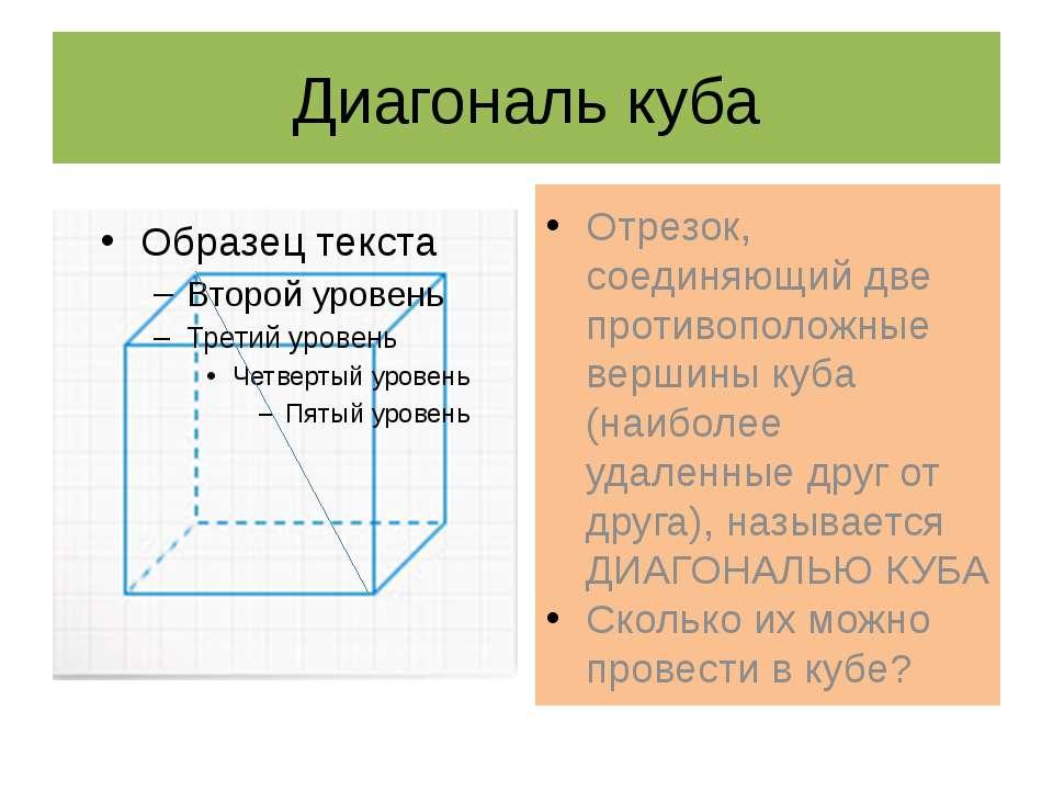 Диагональ куба Отрезок, соединяющий две противоположные вершины куба (наиболе...