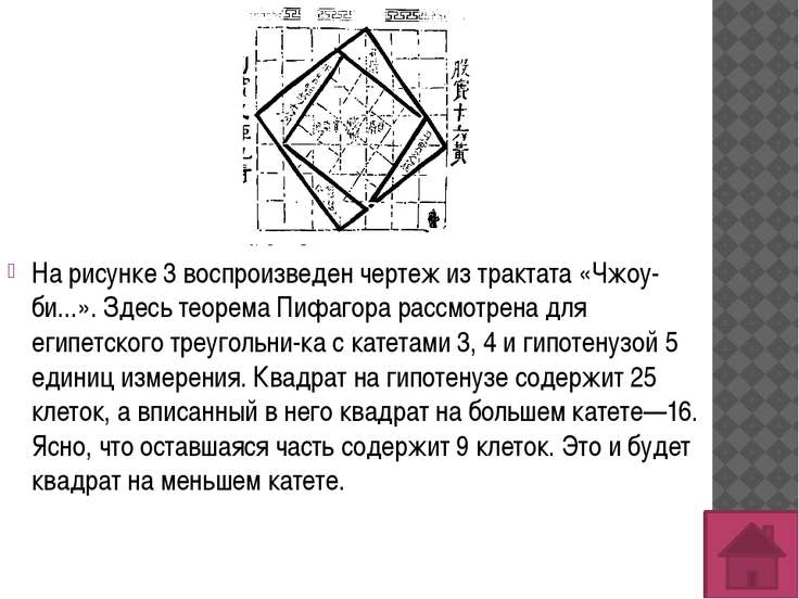 На рисунке 3 воспроизведен чертеж из трактата «Чжоу-би...». Здесь теорема Пиф...