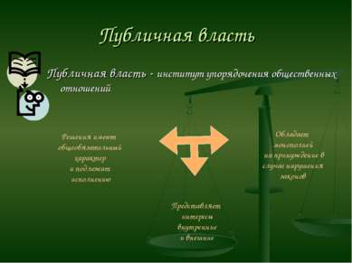 Публичная власть Публичная власть - институт упорядочения общественных отноше...