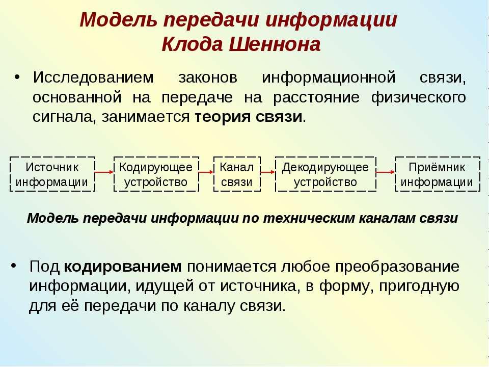 Модель передачи информации Клода Шеннона Исследованием законов информационной...