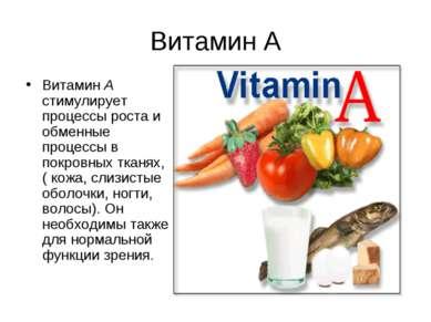 Витамин А Витамин А стимулирует процессы роста и обменные процессы в покровны...