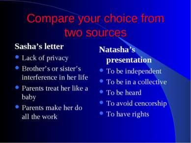 Compare your choice from two sources Sasha's letter Lack of privacy Brother's...