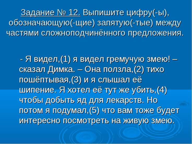 Задание № 12. Выпишите цифру(-ы), обозначающую(-щие) запятую(-тые) между част...