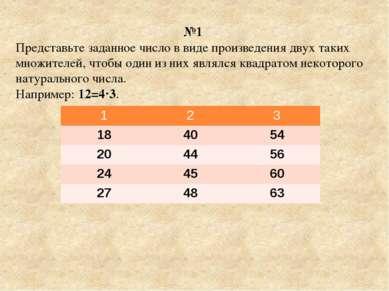 №1 Представьте заданное число в виде произведения двух таких множителей, чтоб...