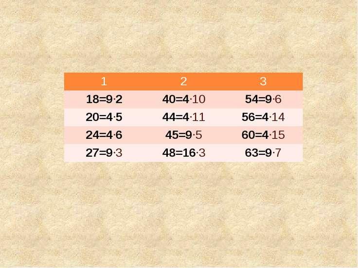 1 2 3 18=9 2 40=4 10 54=9 6 20=4 5 44=4 11 56=4 14 24=4 6 45=9 5 60=4 15 27=9...