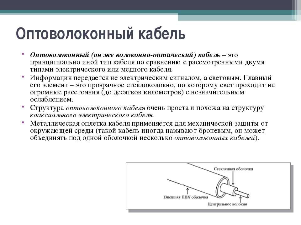 Оптоволоконный кабель Оптоволоконный (он же волоконно-оптический) кабель – эт...