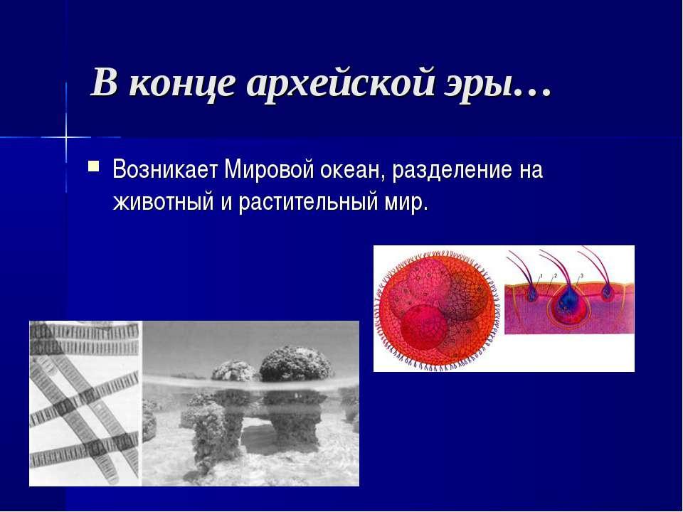 В конце архейской эры… Возникает Мировой океан, разделение на животный и раст...