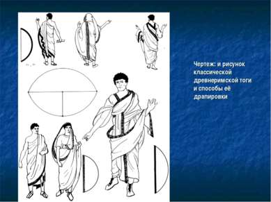 Чертеж: и рисунок классической древнеримской тоги и способы её драпировки