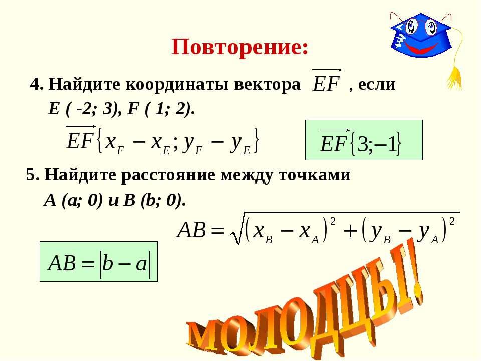 Повторение: 4. Найдите координаты вектора , если Е ( -2; 3), F ( 1; 2). 5. На...