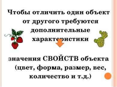 Чтобы отличить один объект от другого требуются дополнительные характеристики...