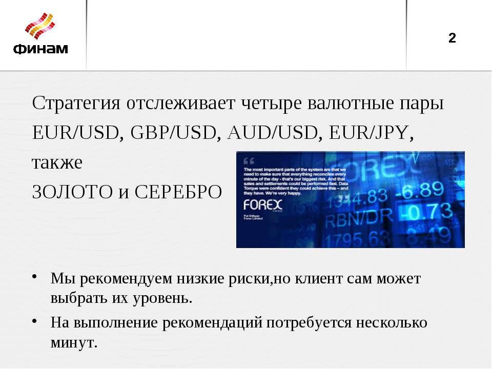 Стратегия отслеживает четыре валютные пары EUR/USD, GBP/USD, AUD/USD, EUR/JPY...