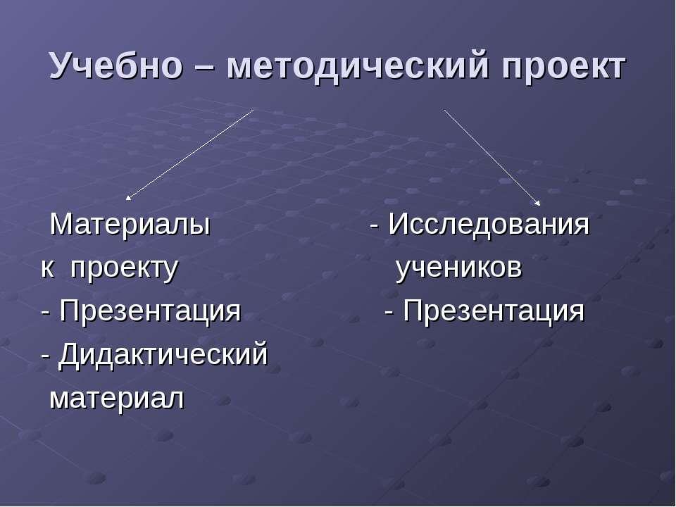 Учебно – методический проект Материалы - Исследования к проекту учеников - Пр...