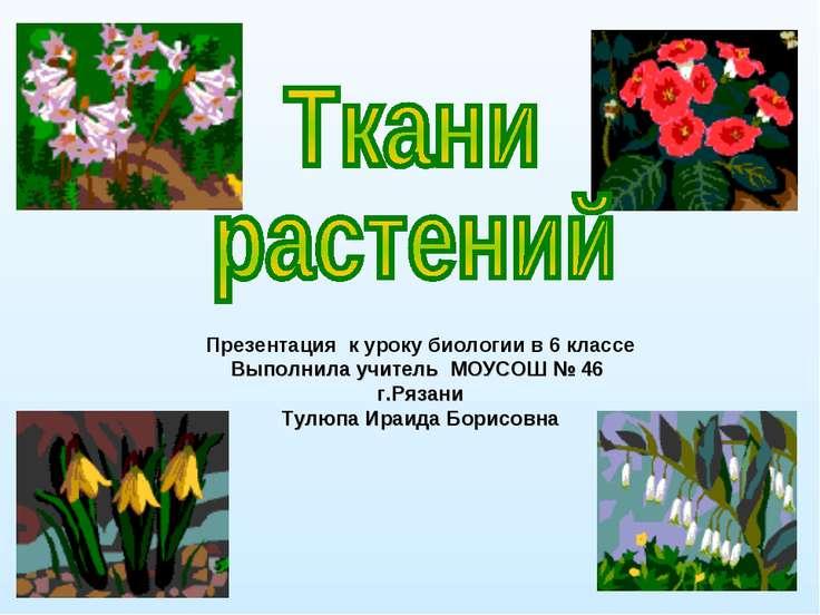 Презентация к уроку биологии в 6 классе Выполнила учитель МОУСОШ № 46 г.Рязан...
