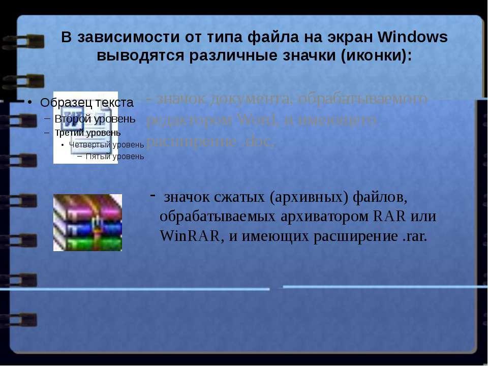 В зависимости от типа файла на экран Windows выводятся различные значки (икон...