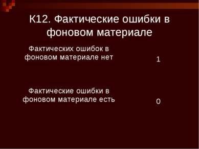 К12. Фактические ошибки в фоновом материале Фактических ошибок в фоновом мате...