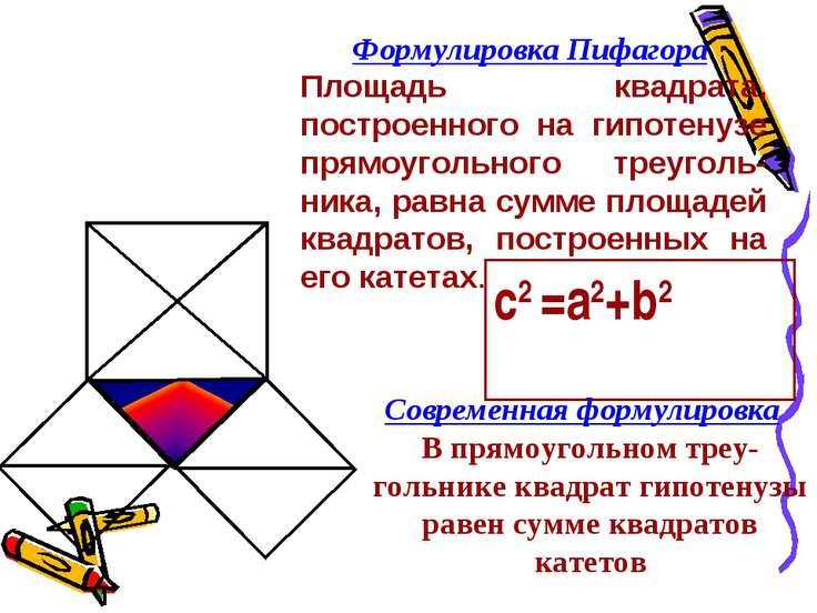 Формулировка Пифагора Площадь квадрата, построенного на гипотенузе прямоуголь...