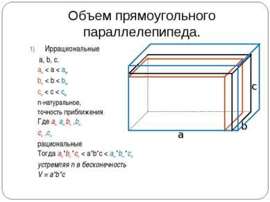 Объем прямоугольного параллелепипеда. Иррациональные а, b, c. an- < а < an+ b...