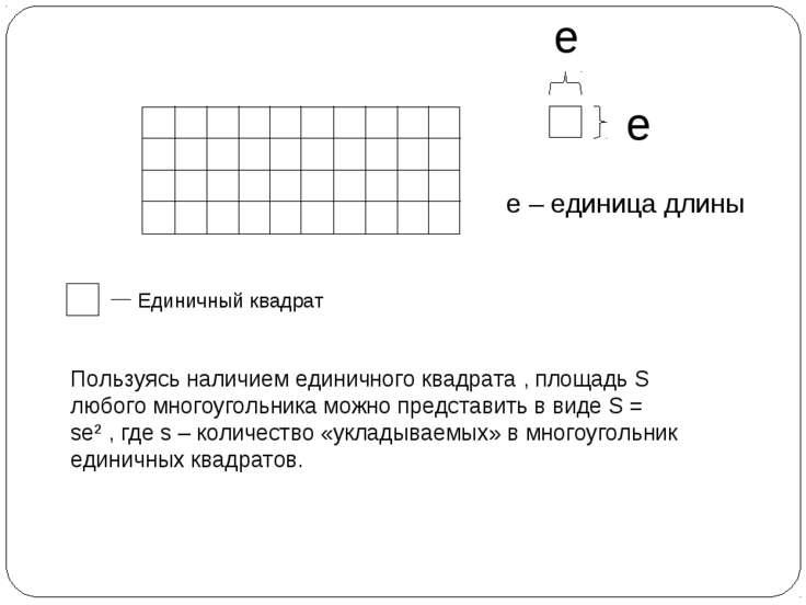 e e – единица длины е Единичный квадрат Пользуясь наличием единичного квадрат...