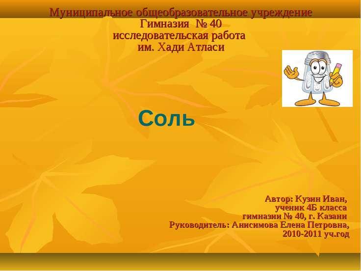 Муниципальное общеобразовательное учреждение Гимназия № 40 исследовательская ...
