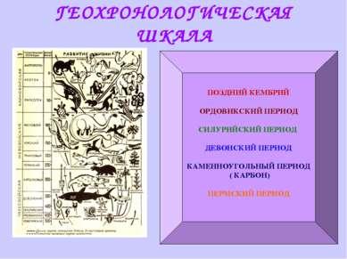 ГЕОХРОНОЛОГИЧЕСКАЯ ШКАЛА ПОЗДНИЙ КЕМБРИЙ ОРДОВИКСКИЙ ПЕРИОД СИЛУРИЙСКИЙ ПЕРИО...