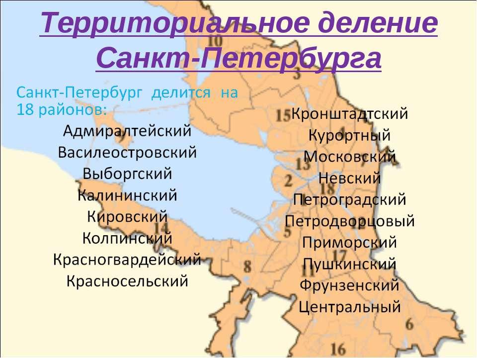 Территориальное деление Санкт-Петербурга