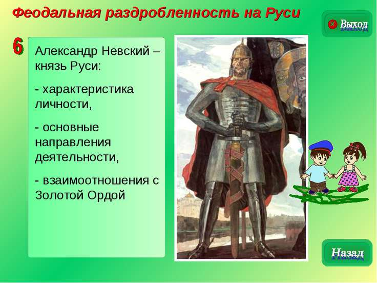 Феодальная раздробленность на Руси Александр Невский – князь Руси: - характер...