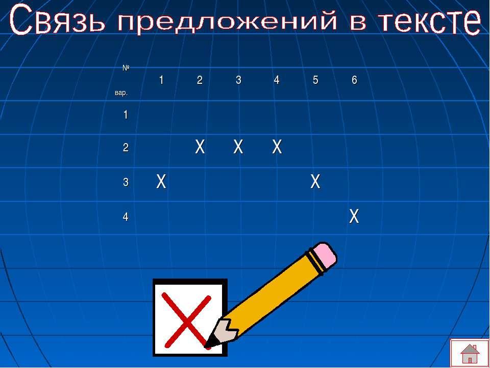 № вар. 1 2 3 4 5 6 1 2 Х Х Х 3 Х Х 4 Х