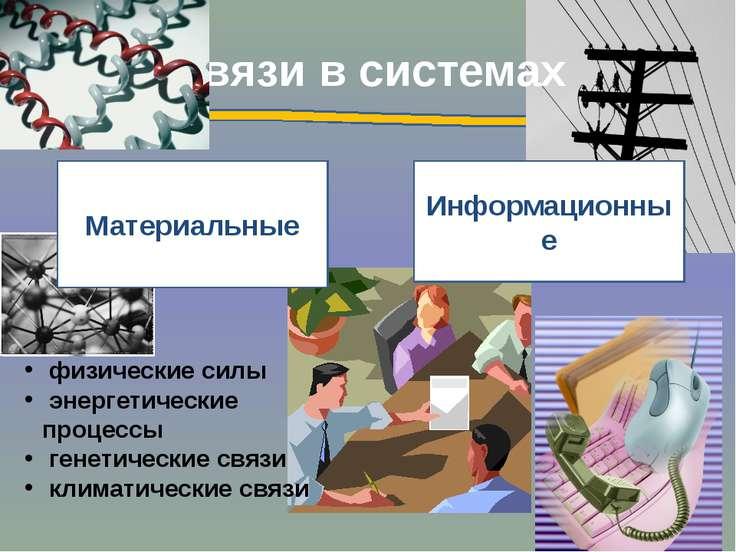 Связи в системах Информационные Материальные физические силы энергетические п...
