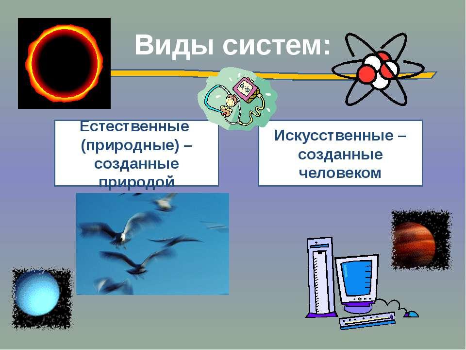 Виды систем: Естественные (природные) – созданные природой Искусственные – со...