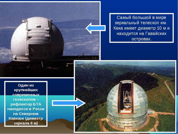 Самый большой в мире зеркальный телескоп им. Кека имеет диаметр 10 м и находи...