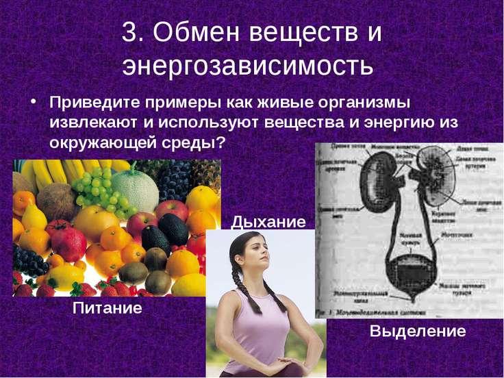 3. Обмен веществ и энергозависимость Приведите примеры как живые организмы из...