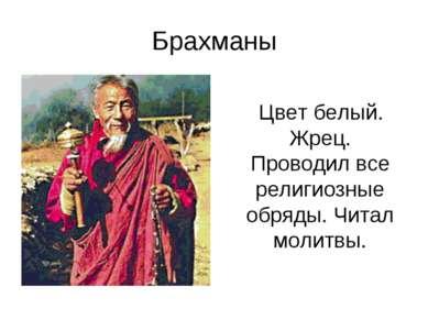 Брахманы Цвет белый. Жрец. Проводил все религиозные обряды. Читал молитвы.