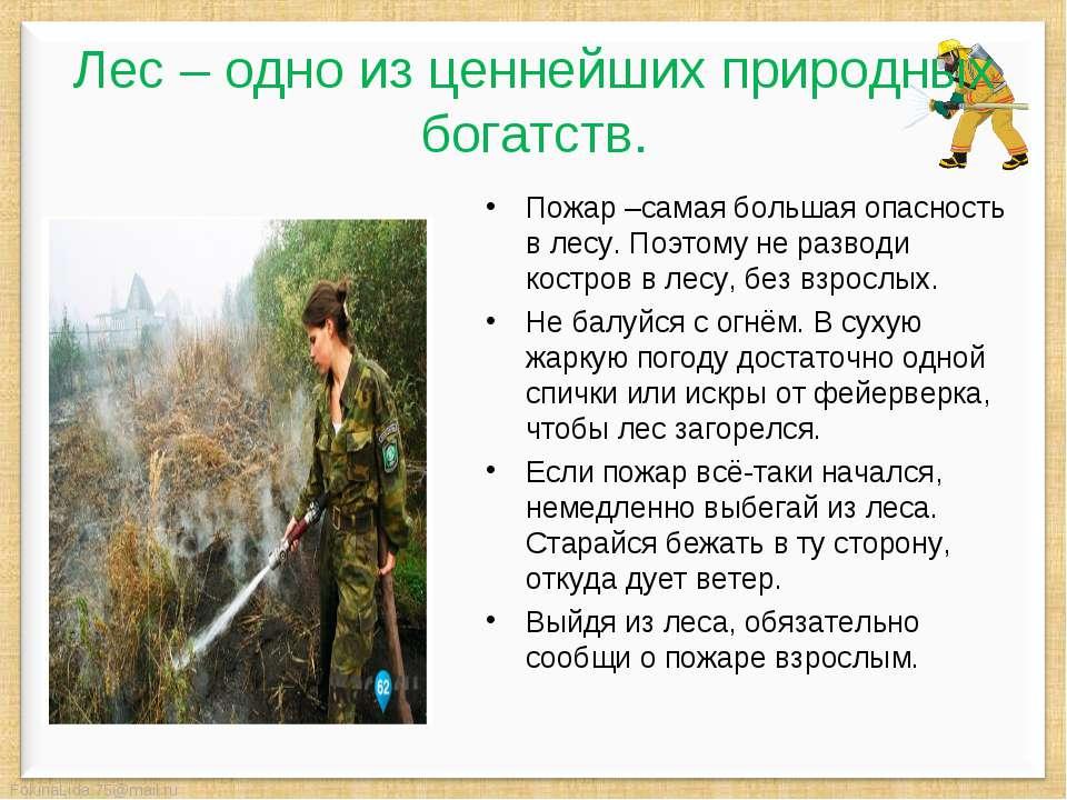 Пожар –самая большая опасность в лесу. Поэтому не разводи костров в лесу, без...