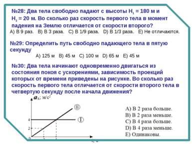 №28: Два тела свободно падают с высоты Н1 = 180 м и Н2 = 20 м. Во сколько раз...