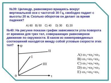 №39: Цилиндр, равномерно вращаясь вокруг вертикальной оси с частотой 30 Гц, с...