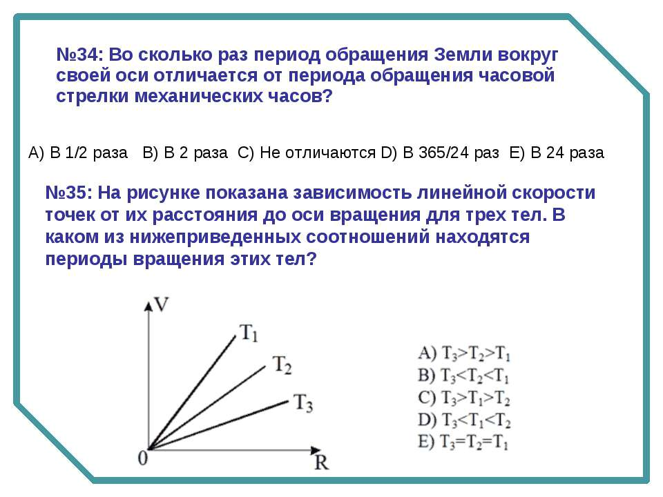 №35: На рисунке показана зависимость линейной скорости точек от их расстояния...