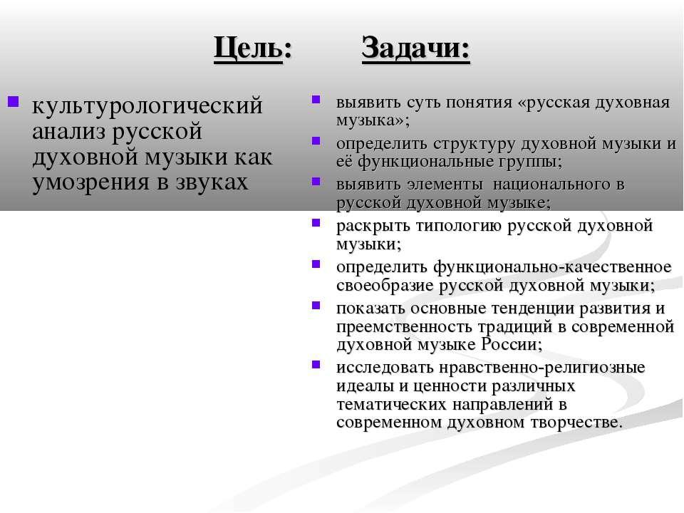Цель: Задачи: культурологический анализ русской духовной музыки как умозрения...
