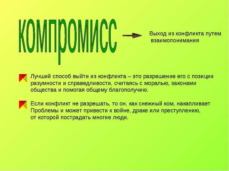 Выход из конфликта путем взаимопонимания Лучший способ выйти из конфликта – э...