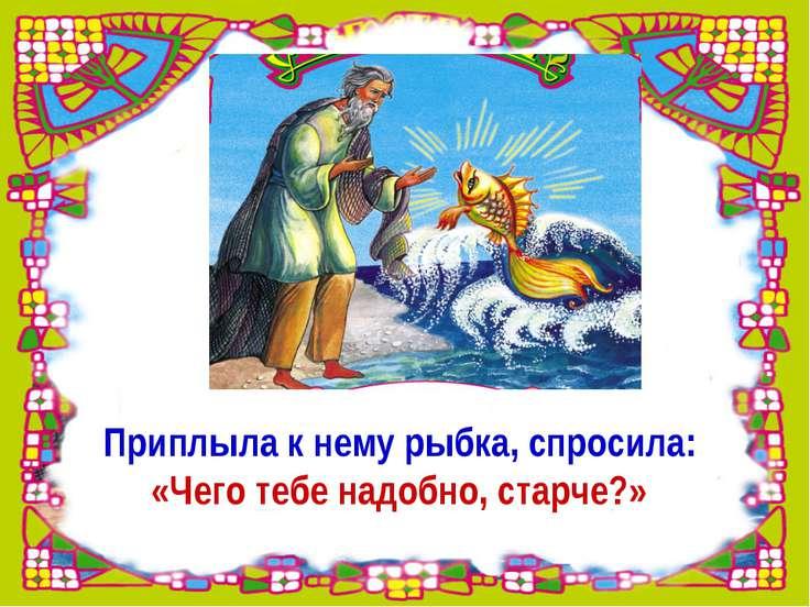 Приплыла к нему рыбка, спросила: «Чего тебе надобно, старче?»