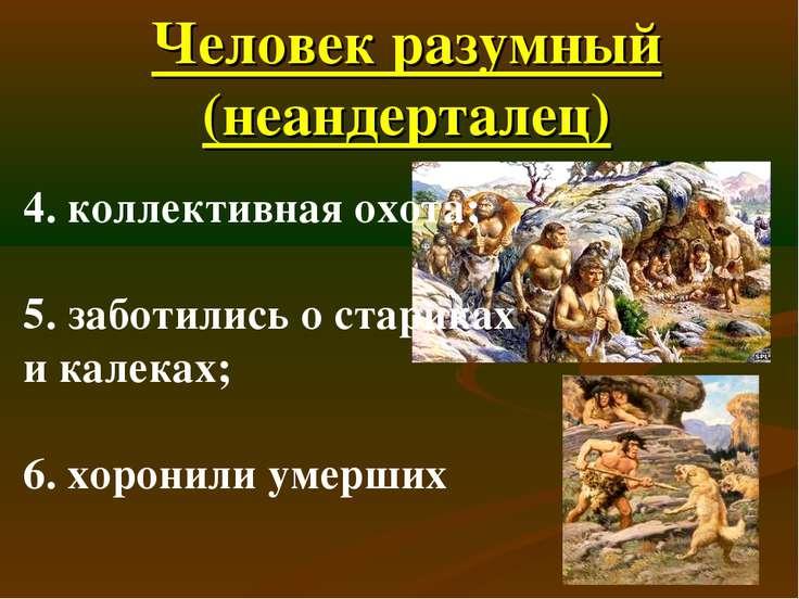 Человек разумный (неандерталец) 4. коллективная охота; 5. заботились о старик...