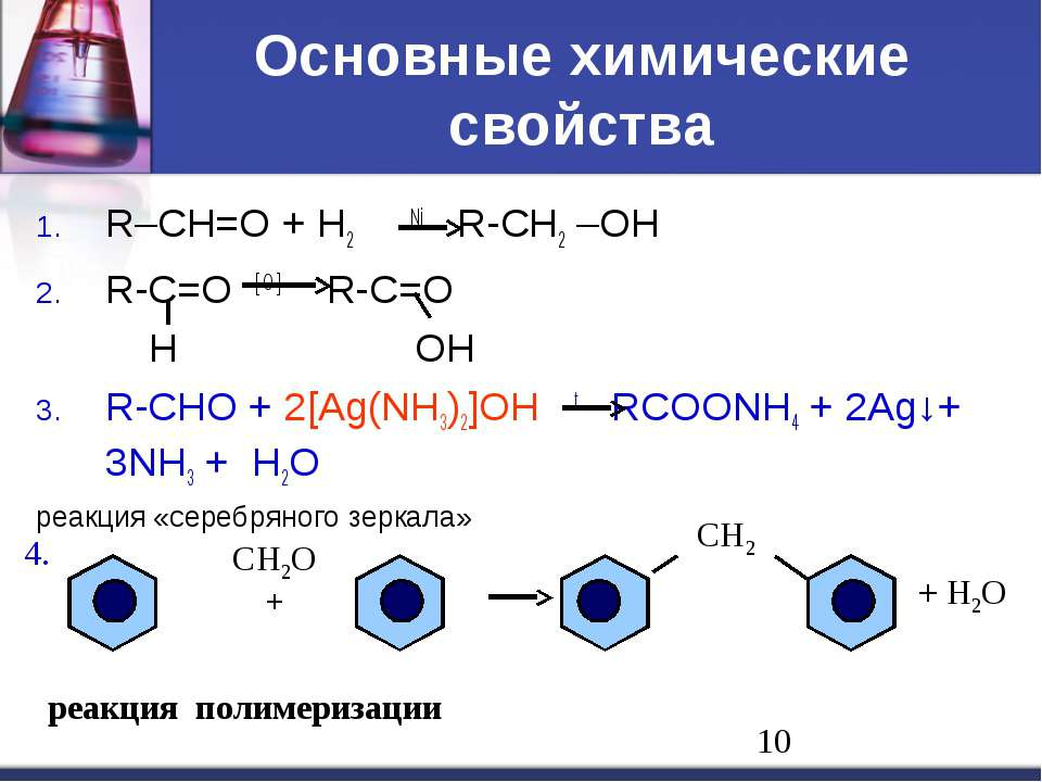 Основные химические свойства R–CH=O + H2 Ni R-CH2 –OH R-C=O [ O ] R-C=O H OH ...